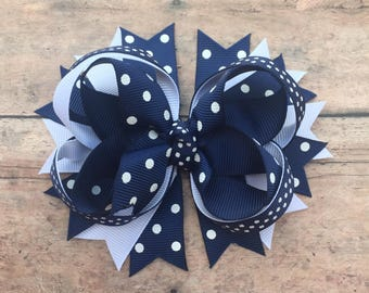 Navy Hair bow - Navy Bow - Navy and White Bow - Navy Hairbow - Baby girl Bows - Navy Hair Clip - Navy Boutique Bow - Boutique Hairbows - Bow