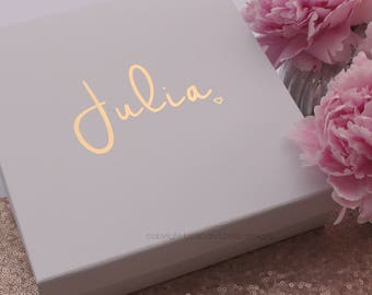 Personalised gift box, keepsake.  Perfect as a birthday gift box, wedding thank you, wedding proposal box. Gold, rose gold or silver foil