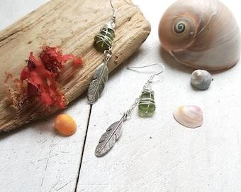 Boho Beach earrings with sea glass & feather charms