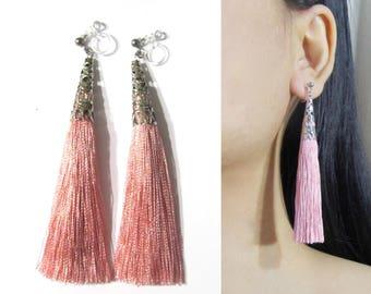 Rose Blush Pink Tassel Clip-On Earrings |35N| Long Dangle Clip Earring, Silver Filigree Clip-ons, Boho Statement Clipon Non Pierced Earrings