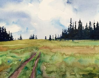 Pine trees, pine tree painting, Pacific Northwest, Rainier national park, Meadow, tree painting, watercolor trees, landscape painting, firs