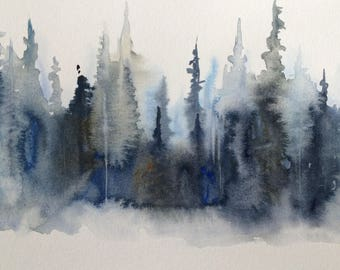 Pine trees, Misty trees,Wet in wet, semi abstract,Contemporary painting, pines, blue trees, Pine forest, abstract landscape,watercolor pines