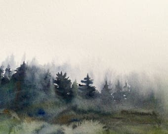 Misty forest watercolor, Misty pines, pine forest, Misty tree watercolor, watercolor, landscape painting, painting, landscape painting,trees
