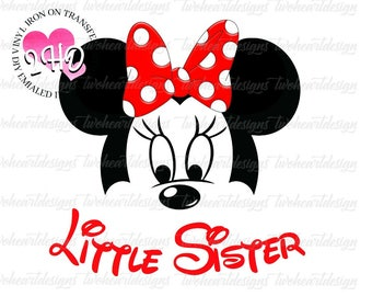 Little Sister Minnie Bow Red Iron On - - Digital Download - You Print