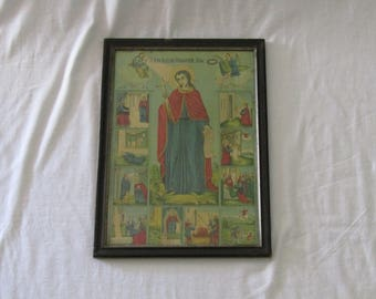 Antique Greek framed Orthodox Christian icon lithograph print of St John the Confessor, Christian lithography, Orthodox Christian lithograph