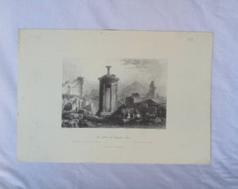 antique Greek gravure the laterne of Diogenis, Athens, wall hanging gravure, vintage gravure, old gravure art, vintage wall art, for wall.