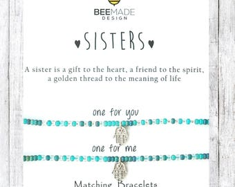 Sisters Matching Bracelets for 2 bracelet sets silver gifts for her Christmas gifts for sisters for best friends stocking stuffer for bff