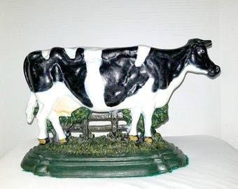 Vintage Cast Iron Door Stop,Cow  Door Stop,Cast Iron Boot Scraper,Folk Art,Rustic,Door Stop,Primative,Farm House,Cow,Bookend,Cast Iron,1950s