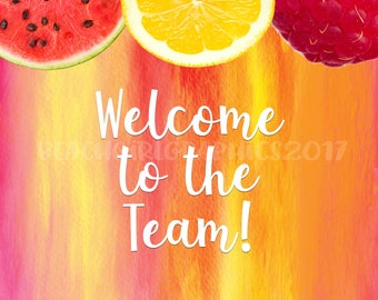 "Fresh Fruit ""Welcome To The Team"" 4 x 6 Postcards - 50 for 11.99!"