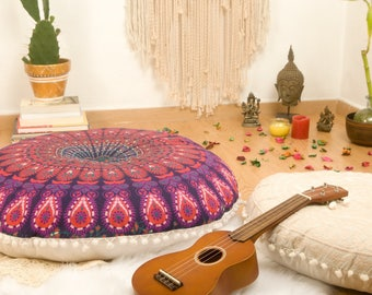 Pouf Ottoman Mandala Meditation Cushion Floor Pillow Floor Cushions Pouffes Meditation Pillowcase FILLER NOT INCLUDED