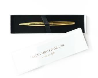 Boss Lady Gold Pen Chic Office Decor Gold Pen Decor Gift for Her Gift for Boss Lady Black Ink Stocking Stuffer Metallic Pens Gold Girl Boss