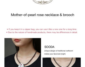 Mother-of-pearl rose necklace &brooch