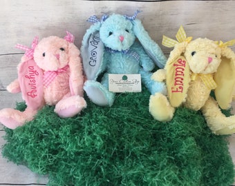 Personalized easter etsy personalized easter bunny embroidered stuffed animal monogrammed rabbit easter gifts for kids negle Images