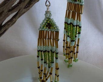Bead Earrings, Seed Bead Earrings, Dangle Earrings, Long Dangle Earrings, Gold Earrings, Green Earrings