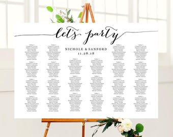Let's Party Wedding Seating Chart Template in FOUR Sizes, Wedding Sign Seating Chart Poster, DIY Printable, Reception Sign