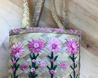 Wicker smal Handbag pink flowers