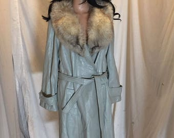 Vintage 24k Leather Dan Di Modes Gray Leather Princess Coat Fox Fur Collar Muses