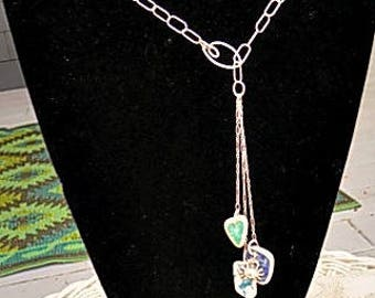 Sterling Lariat Necklace with Sea Pottery from Scotland