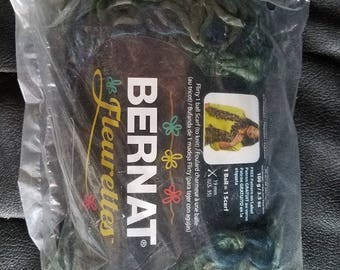 Bernat Fleurettes Yarn - FREE pattern for Scarf - Great Lakes color