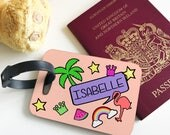 Personalised Retro Peach Kids Childrens Hardwood Glossy Luggage Tags for suitcase holiday accessory