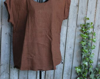 Brown Linen Loose Fitting Top