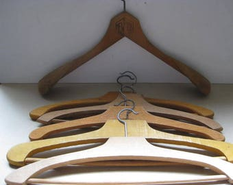 Set of 6 vintage French wooden clothes hangers.