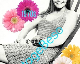Digital Pattern - Vintage 1970s Crochet Dress VintageBeso PDF Pattern - Ladies Crochet Dress Pattern