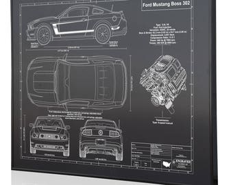 Mustang blueprint etsy ford mustang boss 302 laser engraved wall art blueprint sign artwork to make the best malvernweather Image collections