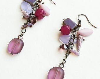 Purple Czech glass beads earrings boho medium long bronze handmade earrings light earrings handmade Czech glass beads earrings gift for her