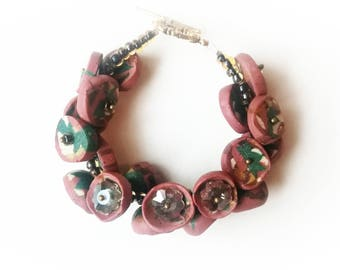 Brown green polymer clay bracelet exclusive handmade jewelry unique gift for her Mom big beads boho beadwork flowers gold beaded glamor cuff