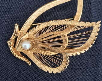 Vintage Gold Brass Half Butterfly Brooch Pin with Pearl