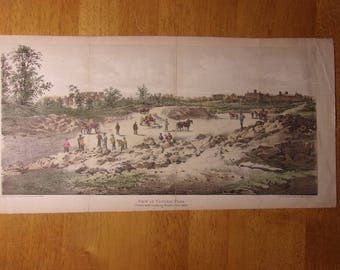 """1859 Print View Of CENTRAL PARK Promenade Looking South New York (14x7"""")"""
