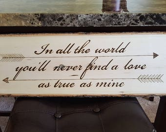 Wood Burned Sign - Love Quote & Arrows