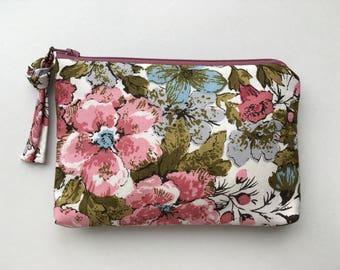 SMALL mauve green pink and blue vintage floral fabric zippered pouch