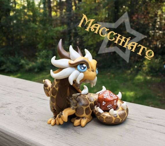 Polymer Clay Dragon Dice Holder- Gold, Hazelnut, and White Pearl Dragonling: Macchiato