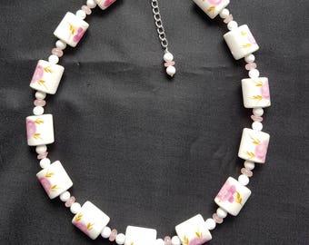 Pink Rose Porcelain & Quartz Beaded Necklace