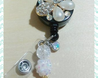 Bling flower ID badge reel swarovski crystals
