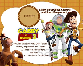 Toy Story Birthday Invitation. Toy Story Invitation. Toy Story Party. Woody, Jessie, Buzz. With or Without Photo Layout. Digital (you print)