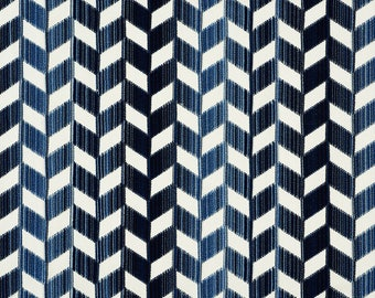 SCHUMACHER CHEVRON VERTICAL Strie Cut Velvet Fabric 10 Yards Lapis Blue