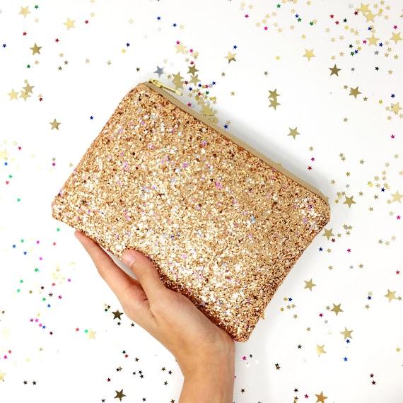 rose gold glitter clutch bag with rainbow sparkles rose gold. Black Bedroom Furniture Sets. Home Design Ideas