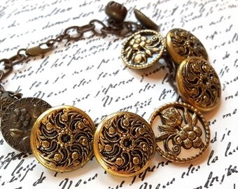 Antique Brass Button Bracelet Mirror Back Buttons Vintaj Brass