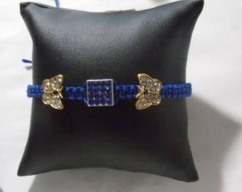 Shamballa 2 papillons strass bleu