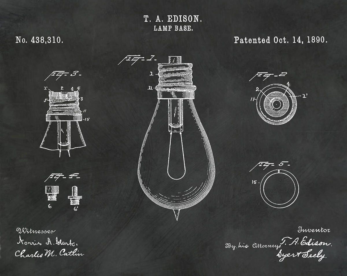 1890 Edison Light Bulb Patent Print