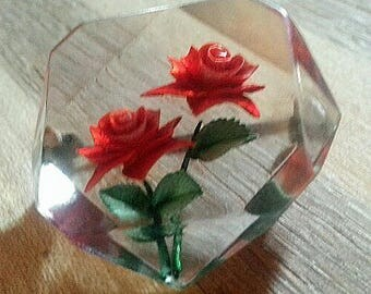 Red rose lucite pin