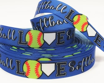 "7/8"" inch LOVE Softball on Blue Sports Soft Balls Printed Grosgrain Ribbon for Hair Bow - Original Design"