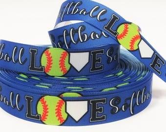 "7/8"" inch LOVE Softball on Blue Sports Soft Balls Printed Grosgrain Ribbon for Hair Bow - Original Design"