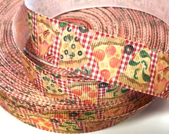 7/8 inch PIZZA I love Pizza On Red Gingham Pepperoni Food Mushroom Printed Grosgrain Ribbon Hair Bow - 7/8""