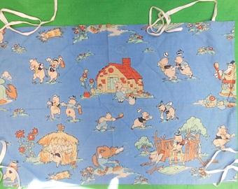 vintage 1950's fabric Disney's Three Little Pigs