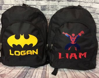 Personalized batman Backpack with any name size 15' hearts,hearts, Army, Dinosaur, Car &Trucks, Heart, Sharks, spiderman
