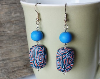 Coral and Blue Polymer Clay Drop Earrings